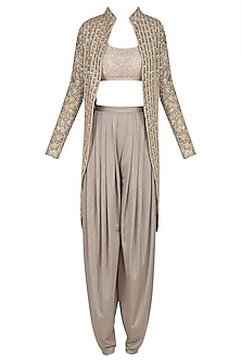 Metallic Grey Embroidered Jacket and Draped Pants Set