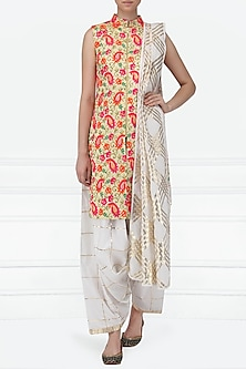 Multi-Colour Embroidered Kurta with Dhoti Pants Set by Siddartha Tytler