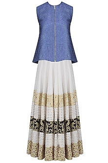 Blue Front Open Top with Ivory Embroidered Lehenga Skirt by Siddartha Tytler