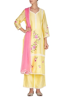 Lemon Yellow Embroidered Kurta Set by Surabhi Arya