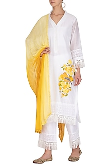 Off White & Lemon Yellow Embellished Kurta Set by Surabhi Arya