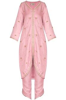 Onion Pink Embroidered Jacket Style Kurta Set by Surabhi Arya