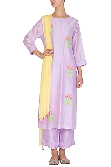 Lavender Applique Worked Kurta Set by Surabhi Arya