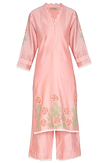 Peach Applique & Lace Kurta Set by Surabhi Arya