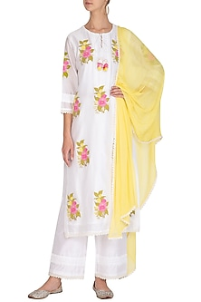 Off White & Lemon Yellow Chanderi Silk Kurta Set by Surabhi Arya