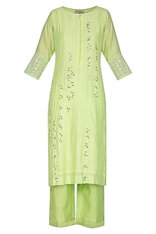 Lime Green Embroidered Kurta Set by Surabhi Arya
