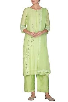 Lime Green Embroidered Kurta Set by Surabhi Arya