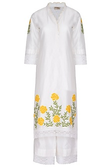 Off White Chanderi Kurta Set by Surabhi Arya