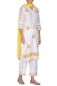 Off White Silk Chanderi Kurta Set by Surabhi Arya