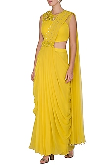 Yellow Embroidered Pre-Draped Saree Set by Surabhi Arya