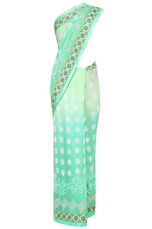 Mint Green Ombre Mukaish Embroidered Lucknowi Saree and Blouse Set