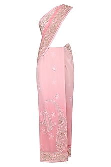 Light Pink Ombre Mukaish Embroidered Lucknowi Saree and Blouse Set