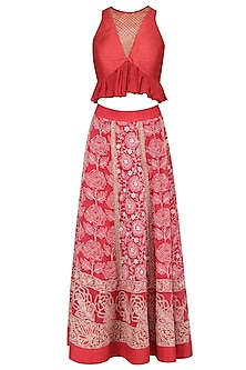Ruby Red Shimmer Work Blouse and Lucknowi Skirt Set
