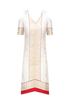 Cream and Gold Short A-Line Baluchari Dress