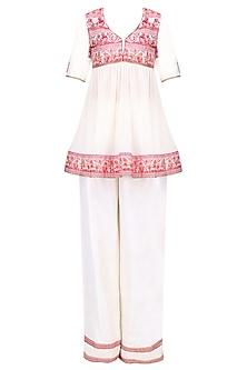 Cream and Red Short Baluchari Gathered Top with Cream Pajama Pant