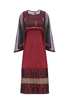 Red Baluchari Short Dress with Black Cape