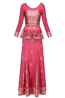 Pink Baluchari and Net Peplum Top with Pink Godet Long Skirt by Sumona