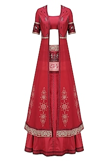 Red Baluchari Coat, Choli and Lehenga Set