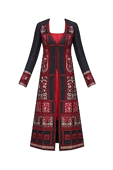 Black and Red Baluchari Jacket Dress with Red Slip by Sumona