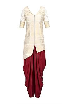 Cream and Gold Baluchari Jacket with Red Dhoti Pant
