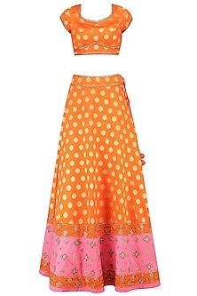 Orange Chanderi Embroidered Lehenga Set Wth Pink Dupatta by Sumona