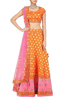 Orange Chanderi Embroidered Lehenga Set Wth Pink Dupatta by Sumona