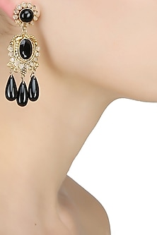 18k gold washed black onyx stone drop danglers by Sumona
