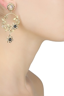 18k gold washed single drop hoop earrings with golden beads and black onyx stones by Sumona