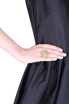 18k gold washed adjustable ring with turquoise stone by Sumona