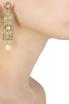 18k gold washed rectangle shaped pearl drop earrings