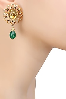 Gold Finish Yellow Topez and Green Onyx Earrings