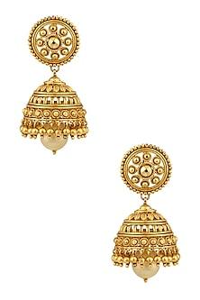 Gold Finish Pearl Jaal Jhumki Earrings by Sumona