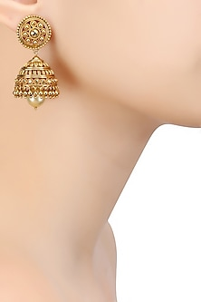 Gold Finish Pearl Jaal Jhumki Earrings by Sumona