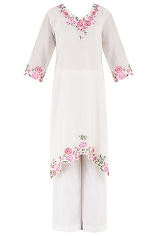 White Embroidered Kurta and Palazzo Pants Set