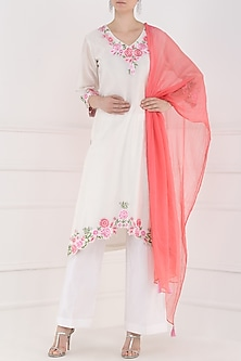 White Embroidered Kurta and Palazzo Pants Set by Surabhi Arya