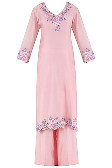 Pink Thread Embroidered Kurta and Palazzo Pants Set