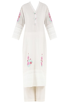 White Embroidered Motifs Kurta and Palazzo Pants Set