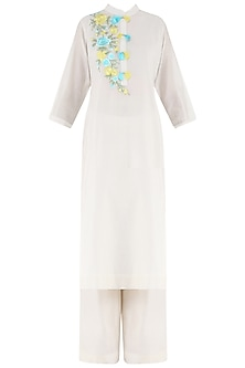 White Embroidered and Tassel Buttons Kurta and Palazzo Pants Set