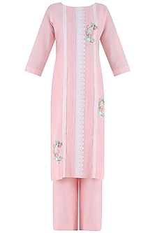 Blush Pink Thread Embroidered Kurta and Palazzo Pants Set