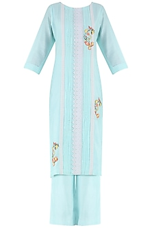 Powder Blue Thread Embroidered Kurta and Palazzo Pants Set