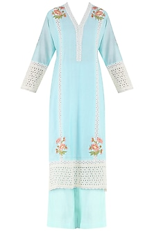 Powder Blue Embroidered Motifs Kurta and Palazzo Pants Set