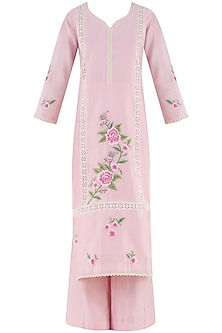Blush Pink Embroidered Motifs Kurta and Palazzo Pants Set