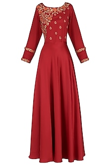 Red 3D Embroidery Gown