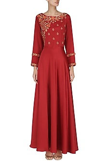 Red 3D Embroidery Gown by Surabhi Arya
