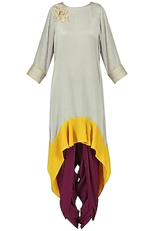 Grey Asymmetric Tunic with Purple Dhoti Pants Set