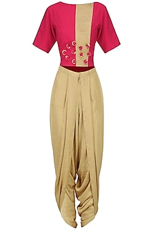 Pink Embroidered Crop Top with Gold Dhoti Pants Set