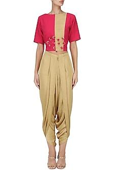Pink Embroidered Crop Top with Gold Dhoti Pants Set by Surabhi Arya