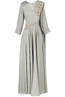 Grey Embroidered Drape Gown