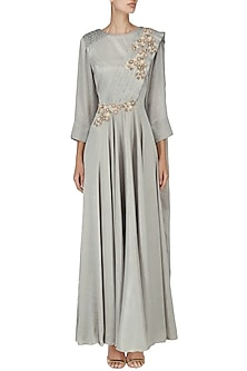 Grey Embroidered Drape Gown by Surabhi Arya
