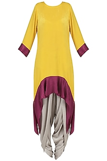 Yellow Asymmetric Tunic with Dhoti Pants Set